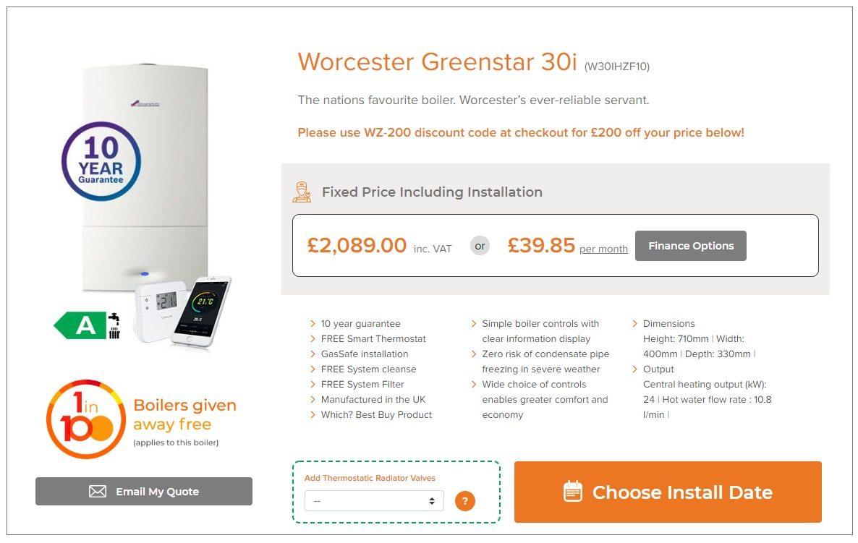Worcester Greenstar 30i from WarmZilla