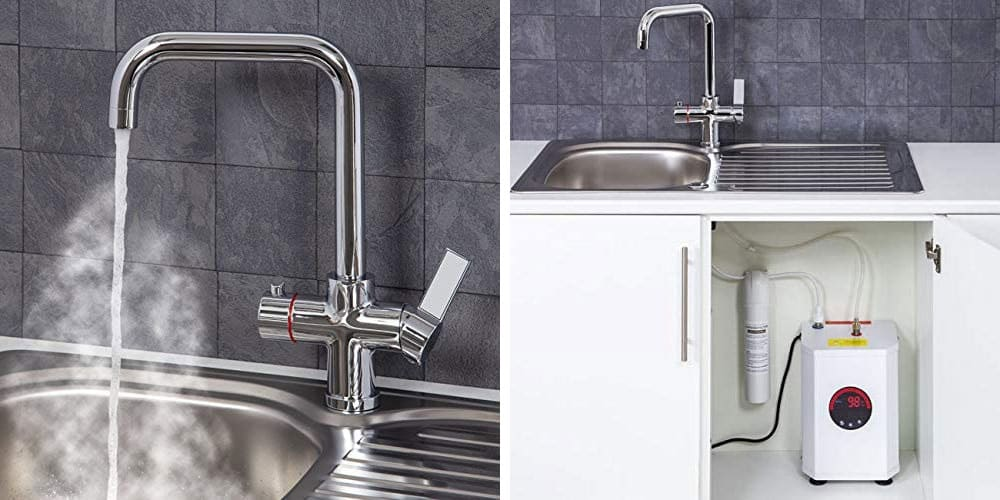 3 in 1 Instant Boiling Water Hot/Cold Water Angular Kitchen Tap Filter and Tank