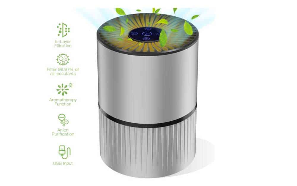 Mkocean Air Purifier for Home with Real HEPA Filter 5-Layer 3 Fan Speed Desktop USB Air Cleaner w Aromatherapy Function