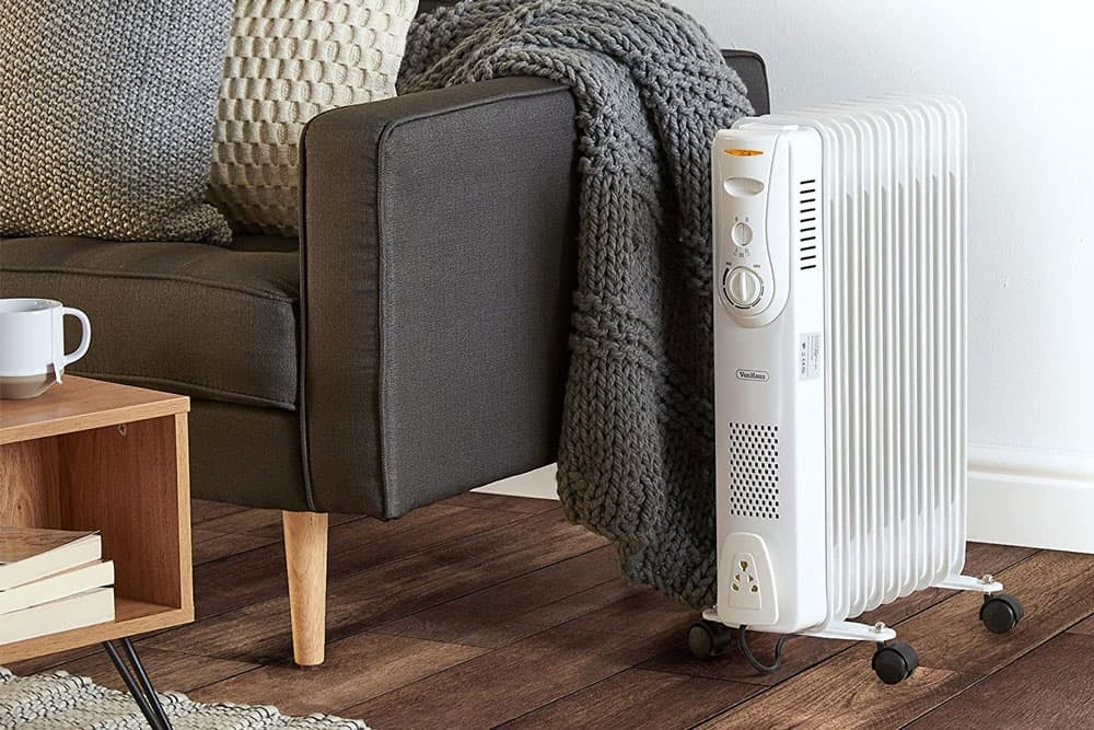 VonHaus Oil Filled Radiator – 2000W – 9 Fin – Freestanding – Plug in Portable Electric Heater