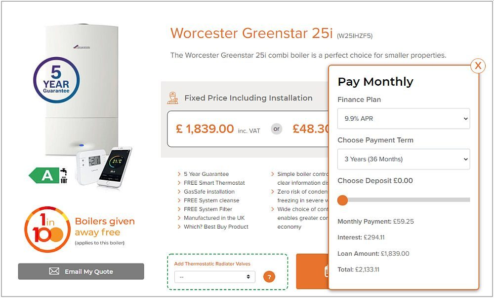 Worcester Greenstar 25i on Finance with Warmzilla