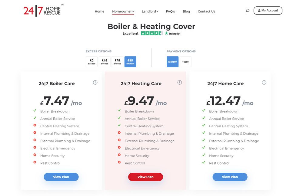 24/7 Home Rescue Boiler Heating Cover Pricing plans