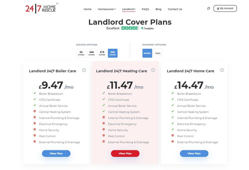 24 7 Home Rescue - Landlord Cover Plans Pricing