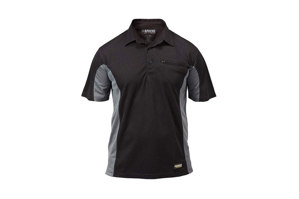Apache Men's Dry Max Moisture Wicking Polo - Black/Grey, Large