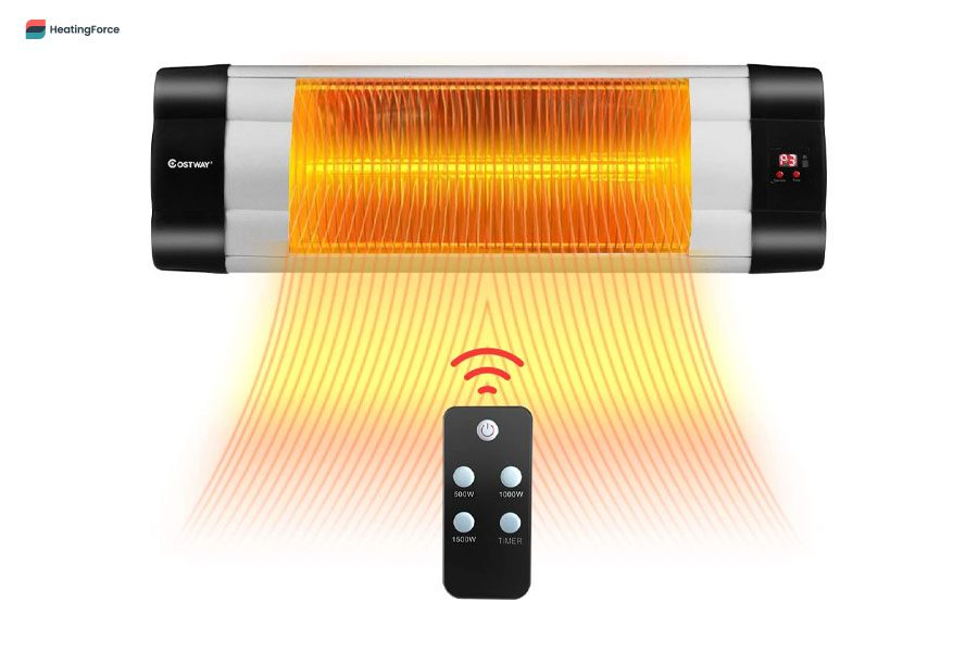 COSTWAY Wall Mounted Infrared Patio Heater with Remote Control
