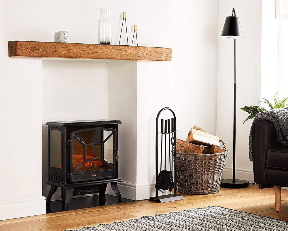 VonHaus Panoramic Electric Stove Heater – 1800W Fireplace with LED Log Fire Flame Effect