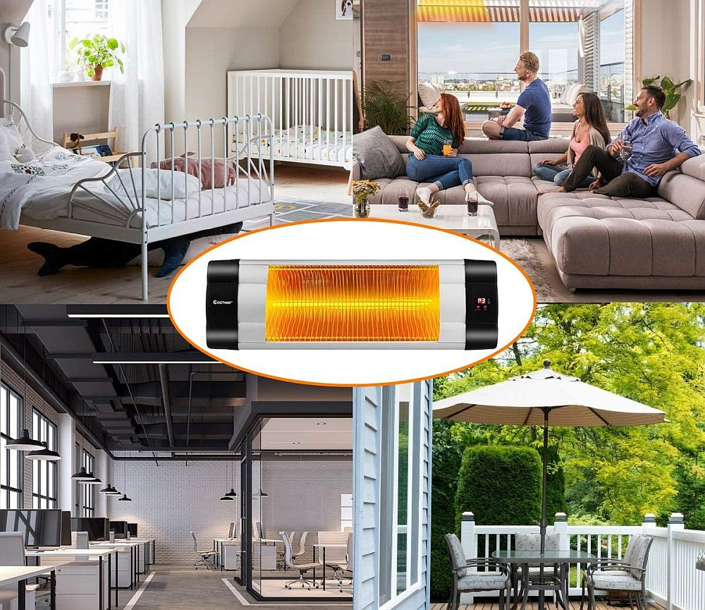 COSTWAY Wall Mounted Infrared Patio Heater