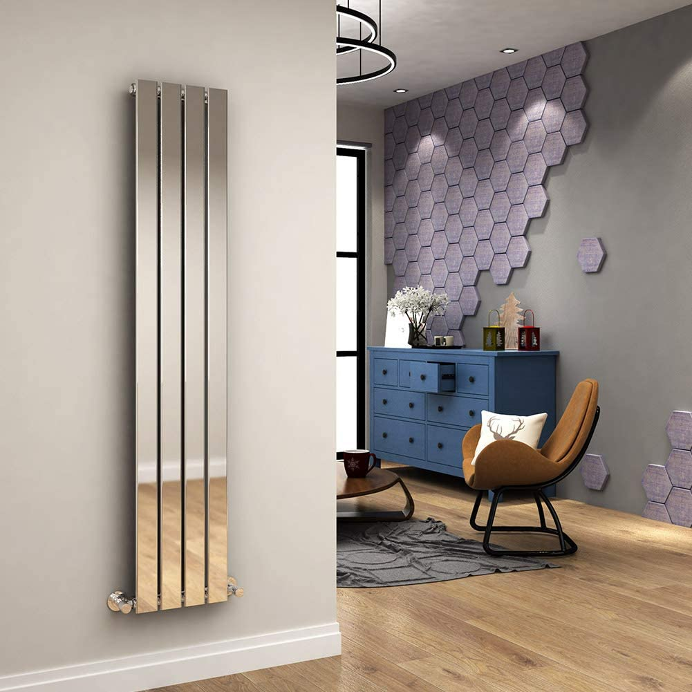 ELEGANT Chrome Vertical Column Radiator Single Flat Panel Designer Bathroom Radiator