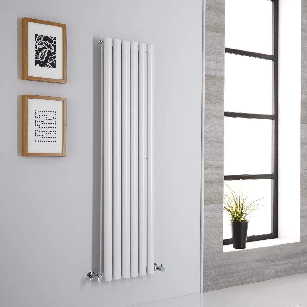 Milano Aruba Modern Vertical Column Single Oval Panel Designer Radiator