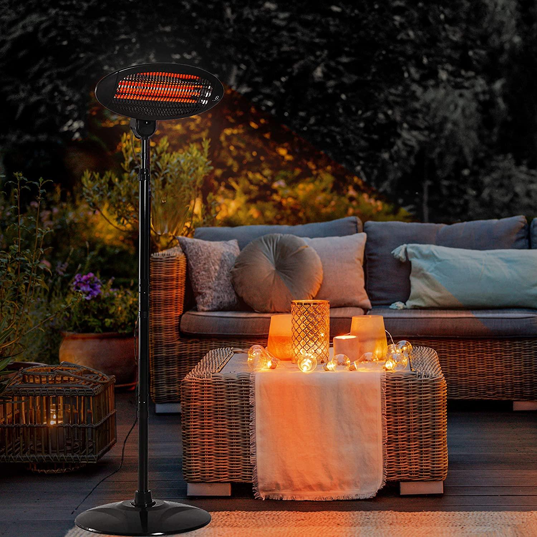 Neo 2KW Electric Quartz Outdoor Standing Waterproof Garden Patio Heater Heating