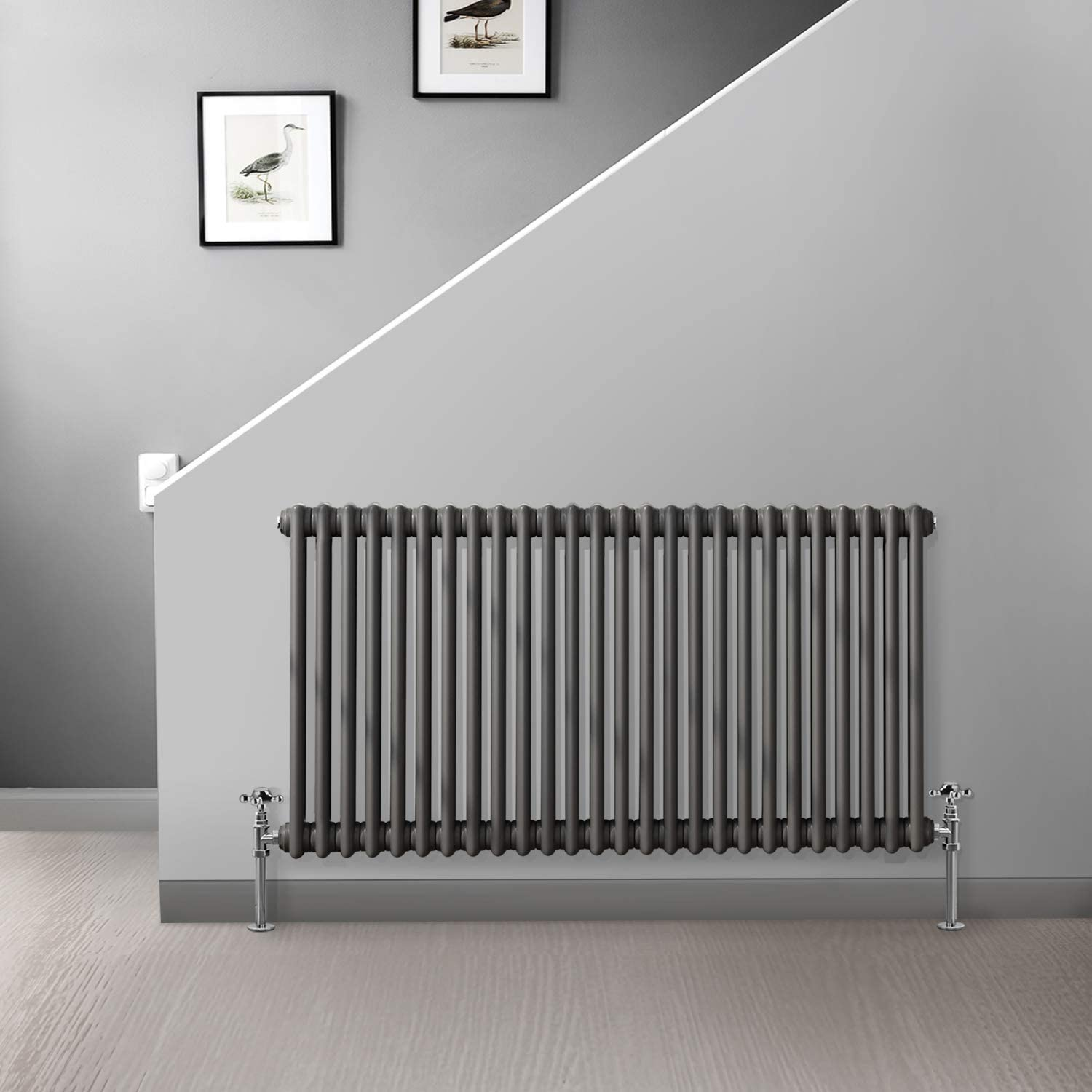 Traditional Colosseum Cast Iron Bathroom Radiator Anthracite 3 Panel