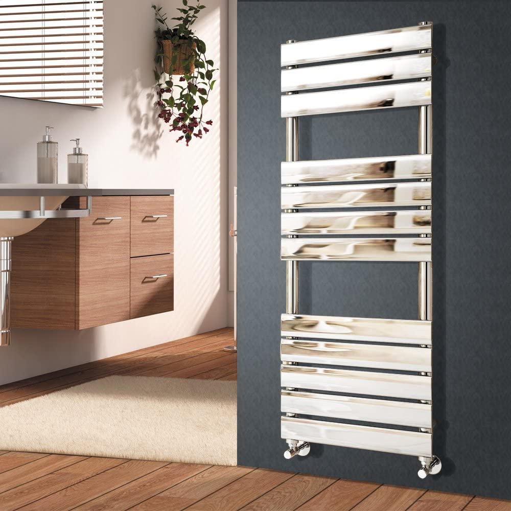 NRG 1200 x 450 mm Designer Flat Panel Heated Towel Rail Radiators Chrome Bathroom Radiator