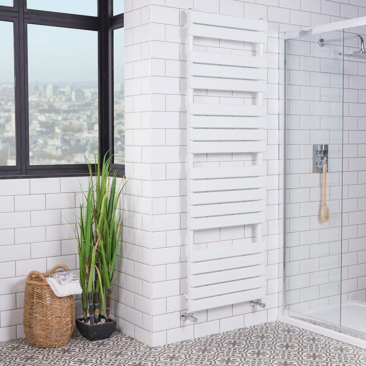 WarmeHaus Designer Minimalist Bathroom Flat Panel Heated Towel Rail Radiator Ladder