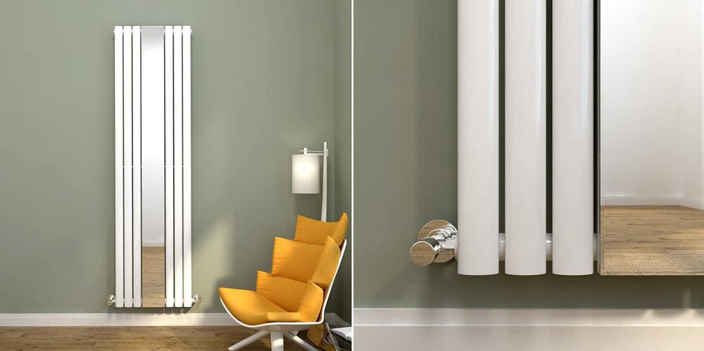 Elegant Vertical Single Oval Column Radiator with Mirror