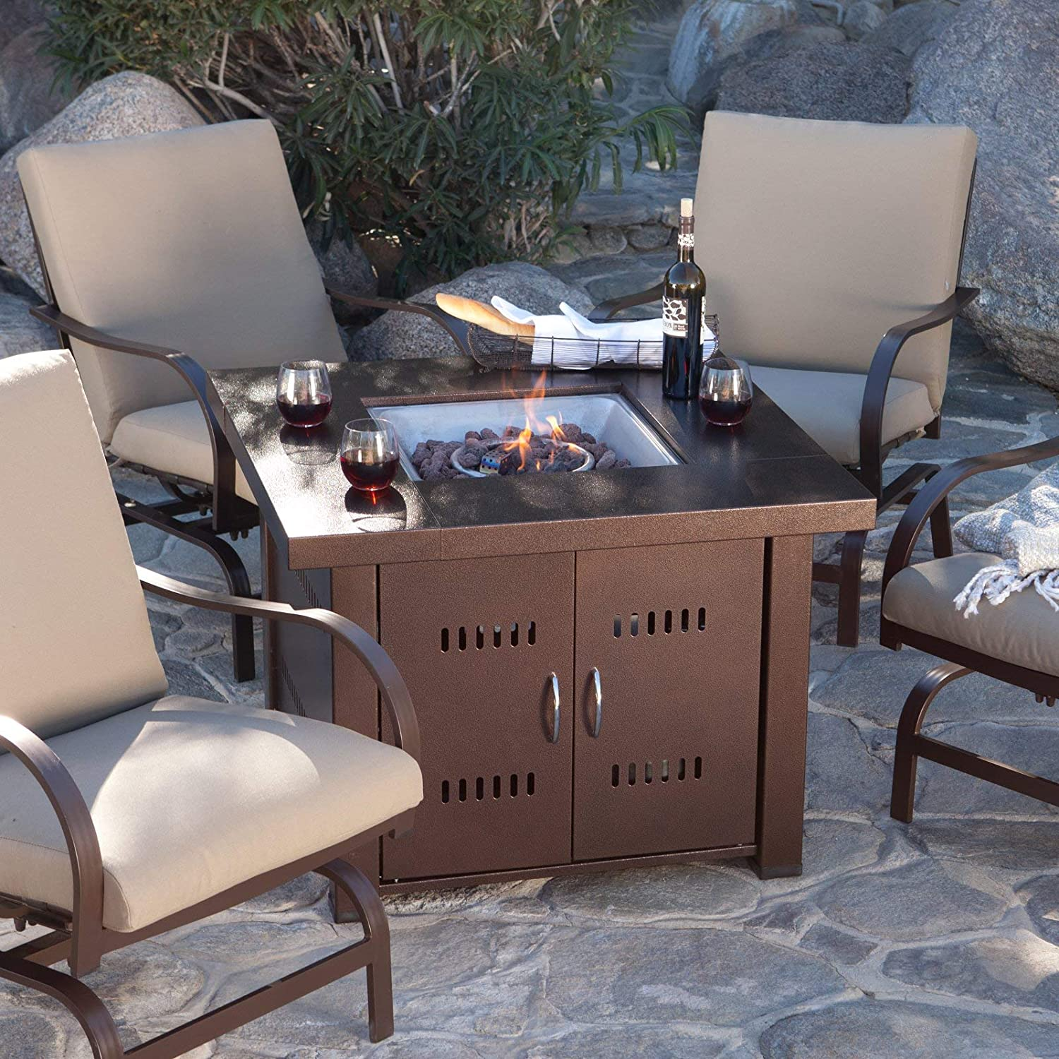 Glow Warm 14kw Outdoor Propane Gas Table Fire Pit (Bronze)