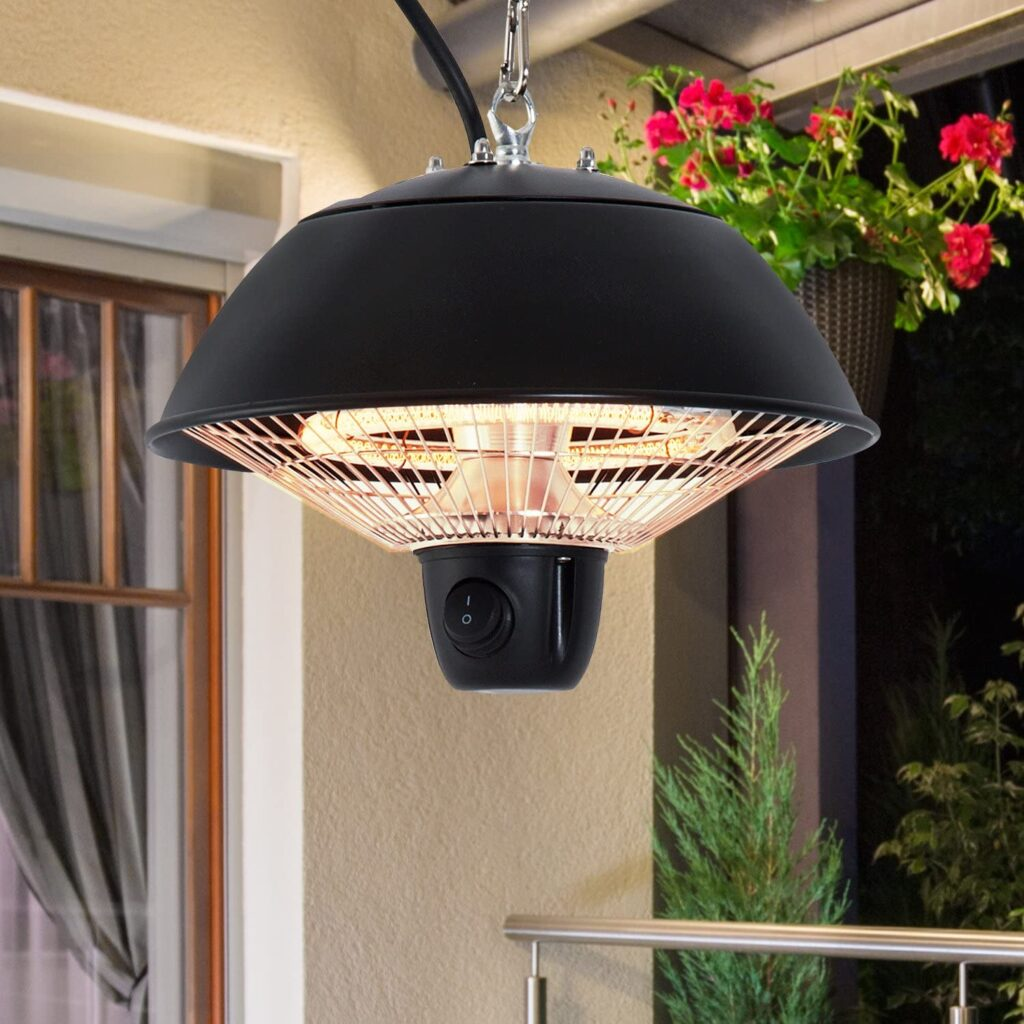 Outsunny 600W Electric Heater Ceiling Hanging Halogen Light