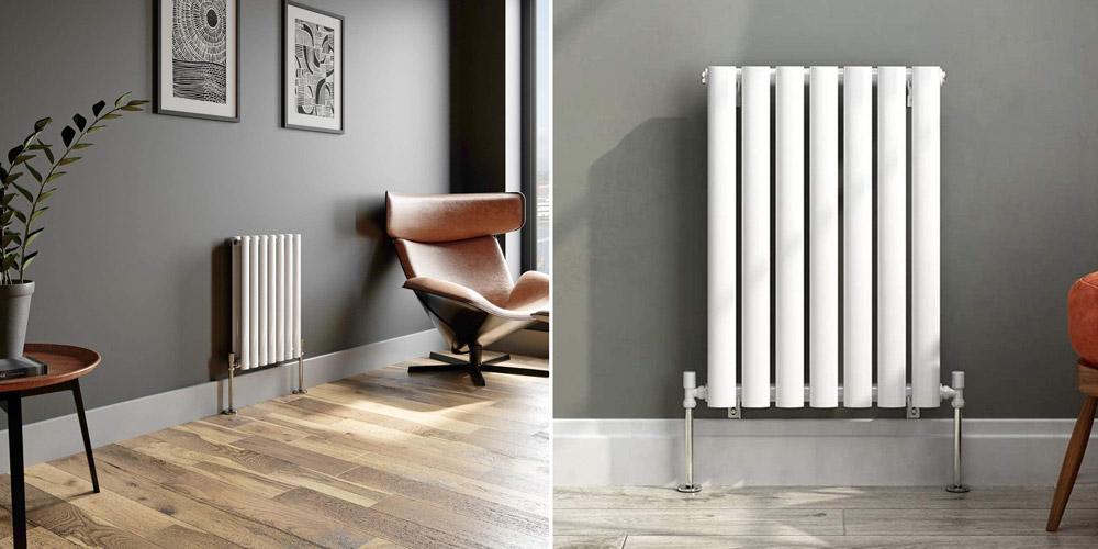 iBathUK Modern Horizontal Column Radiator White Double Oval Panel