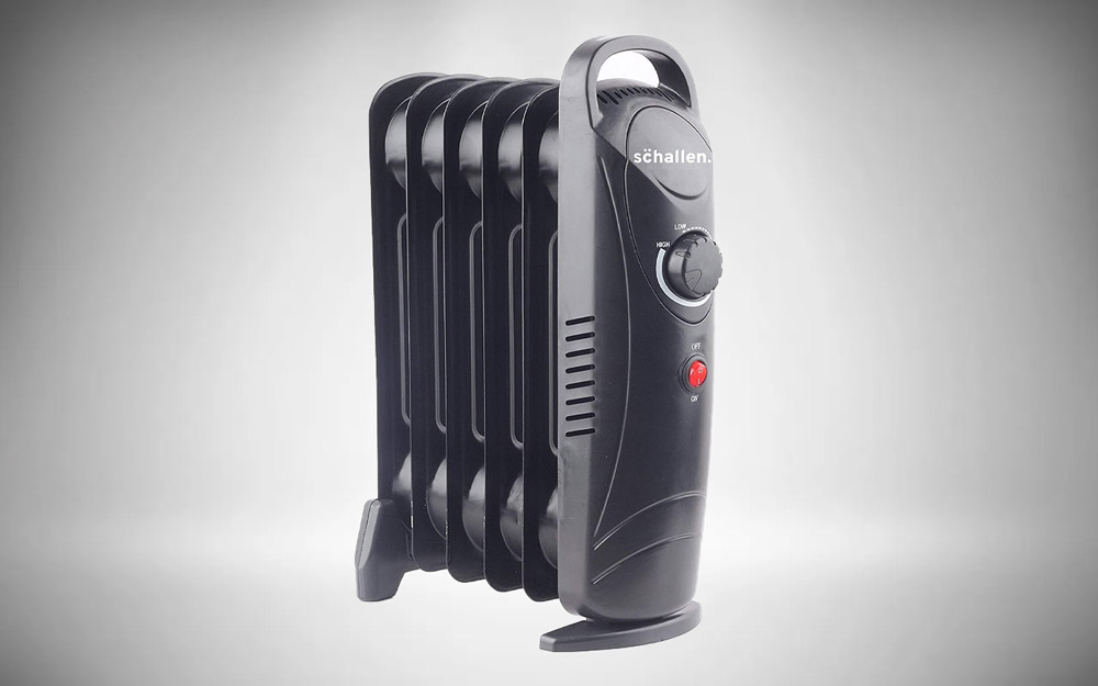 Schallen 800W 6 Fin Mini Small Portable Electric Slim Oil Filled Radiator Heater with Adjustable Temperature Thermostat