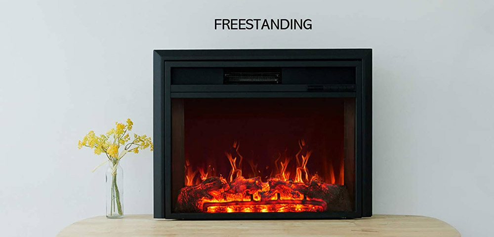 C-Hopetree Electric Fireplace Insert, Portable Free-Standing Heater