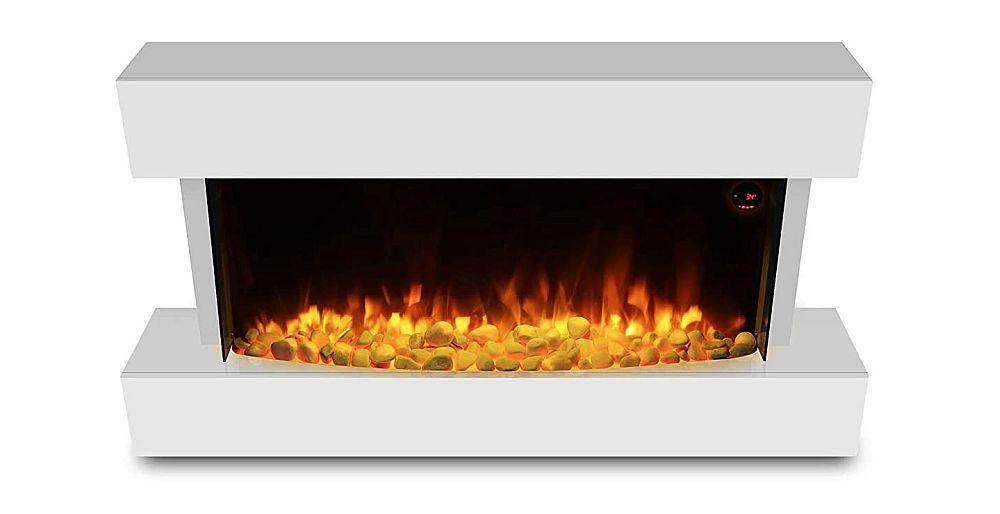 "HomeZone® Modern 50"" Hi Gloss White Wall Mounted Electric Fire Insert Fireplace"