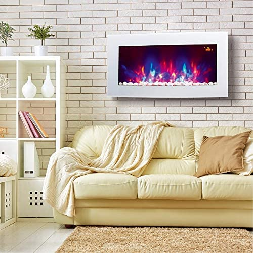 TruFlame 2021 7 colour Side LEDs Wall Mounted Arched White Glass Electric Fire with Pebble Effect