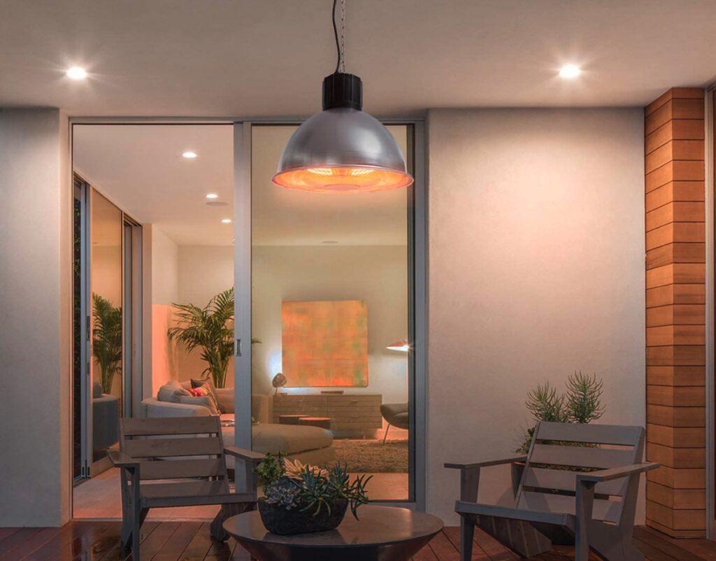The simple elegance of Blumfeldt's Heatbell hanging patio heater.